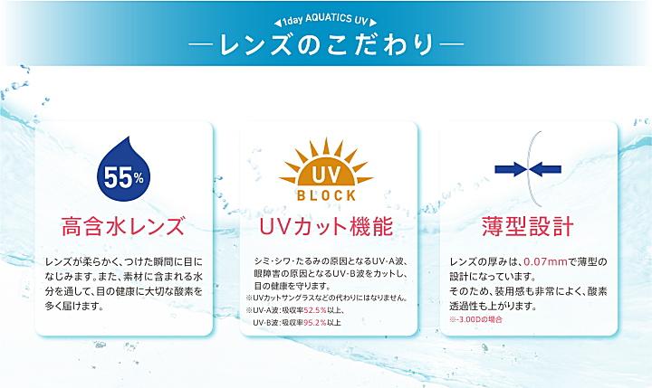 ワンデーアクアティクス含水率55%で紫外線UVカット