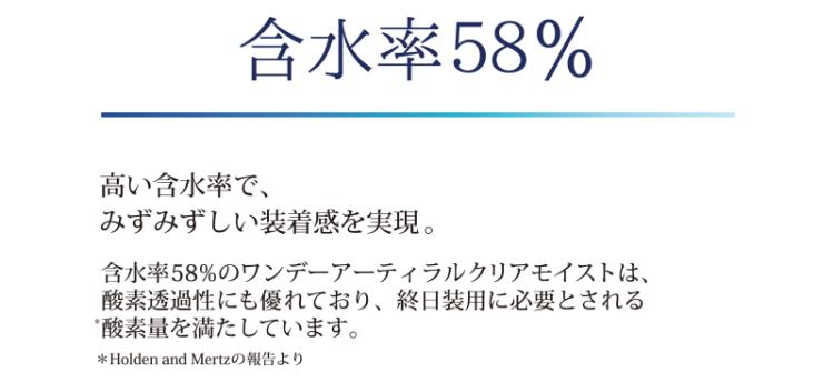 ワンデーアティラル含水率58%
