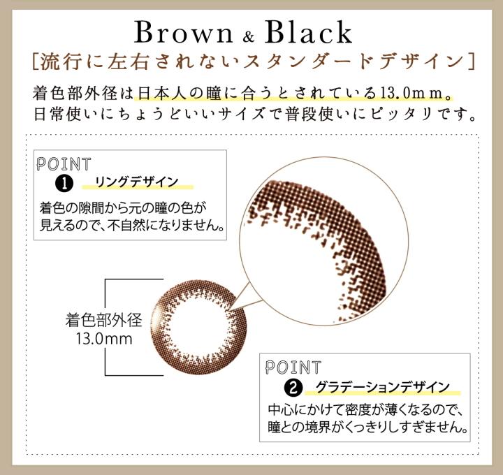 ネオサイトワンデーリングUVブラウンとブラックの着色